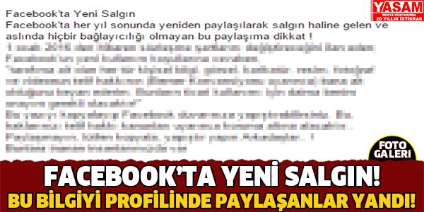 FACEBOOK'TA YENİ SALGIN!!!