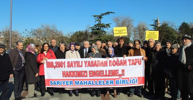 Sarıyerliler mecliste verilen kararı protesto etti..