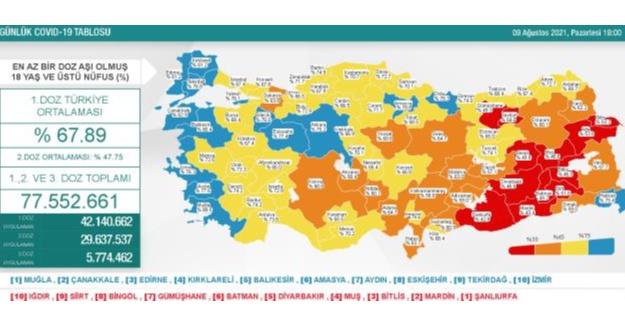 9 Ağustos Pazartesi Koronavirüs tablosu açıklandı!